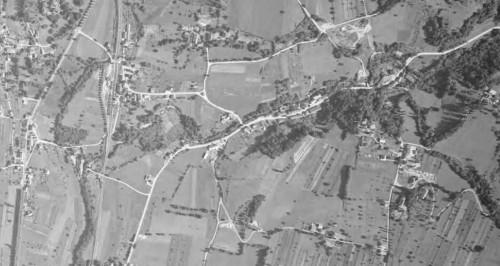 Vue aérienne de Grésy en 1955