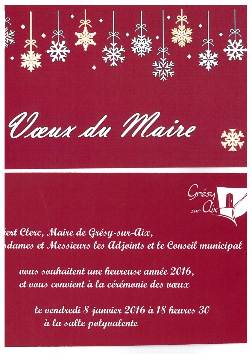 Vœux du Maire aux habitants le vendredi 8 janvier 2016 à 18h30