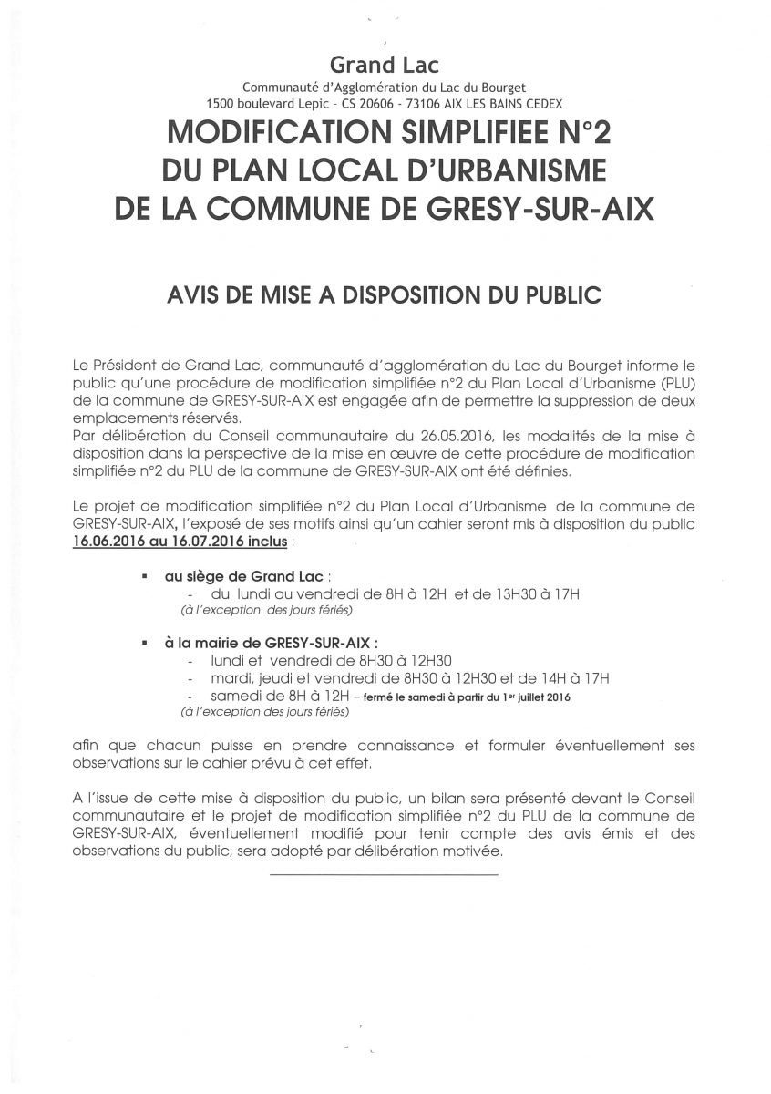 PLU : AVIS DE MISE A DISPOSITION DU PUBLIC