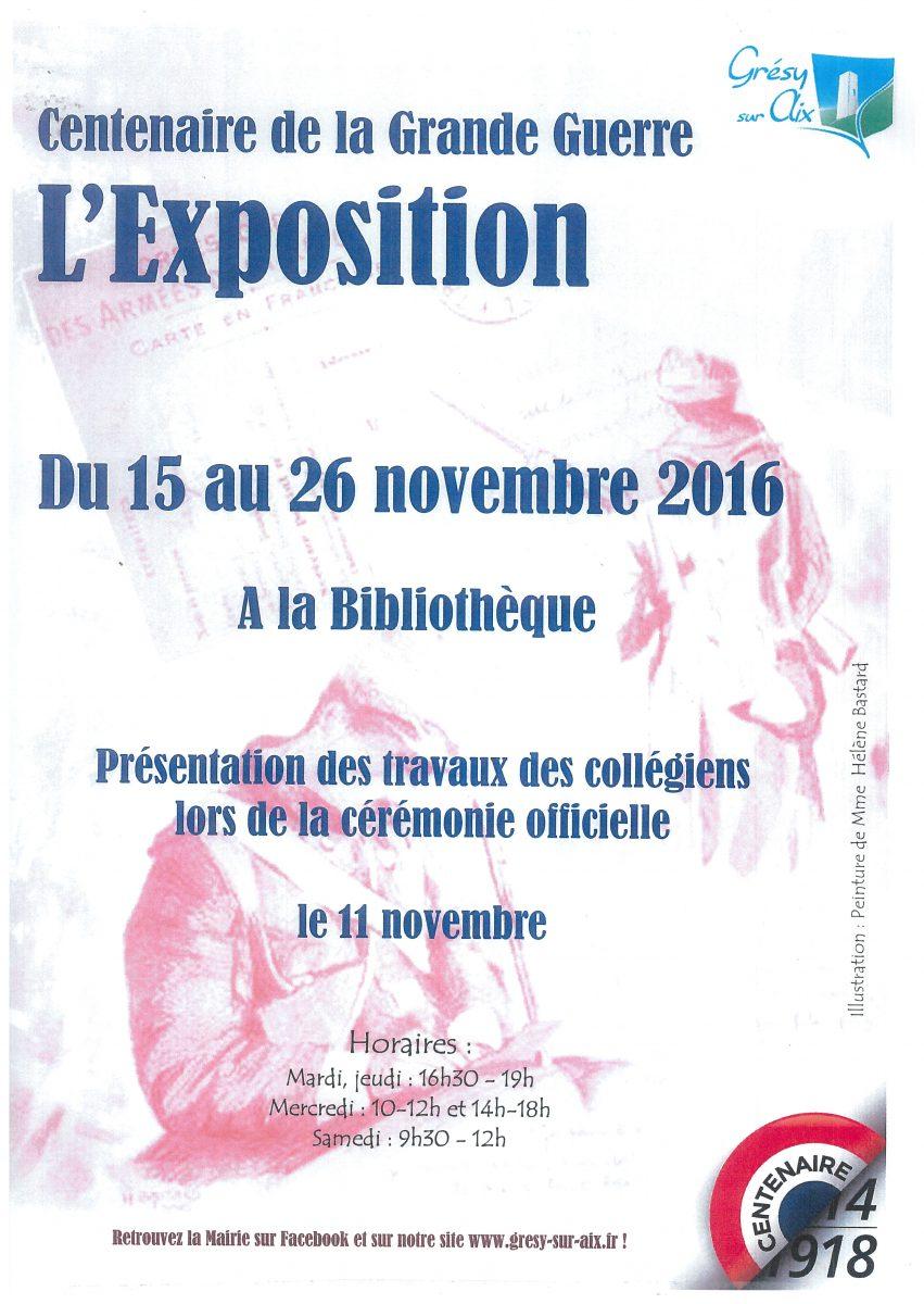 Exposition sur le centenaire de la Grande Guerre du 15 au 26 novembre