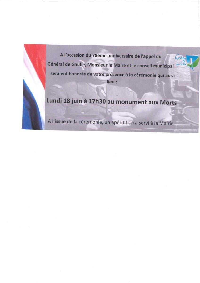 Cérémonie du 18 juin à 17h30 au monument aux Morts