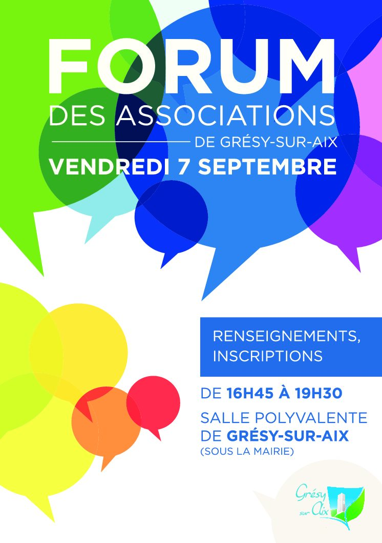 Forum des associations Vendredi 7 Septembre de 16h45 à 19h30