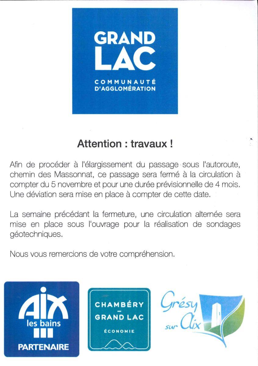 Chemin des Massonat fermé à compter du 5 Novembre. Une déviation sera mise en place.