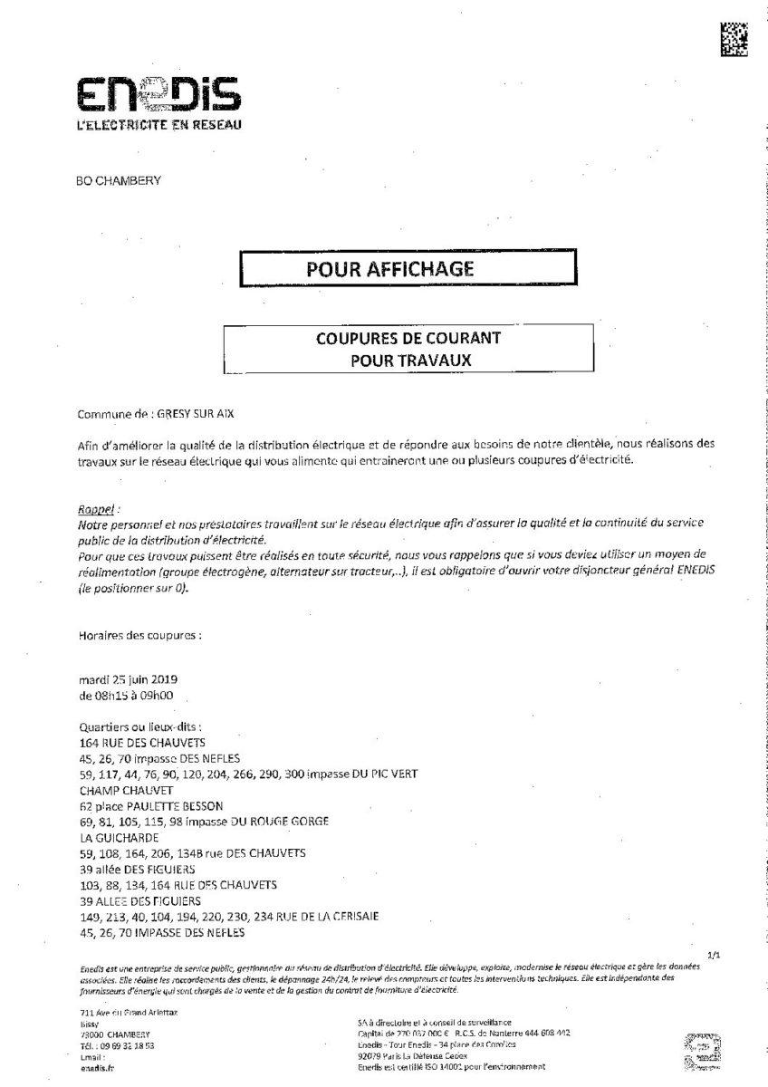 Coupures de courant pour travaux le 25 juin 2019