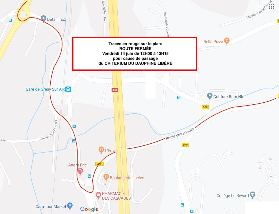 Critérium du Dauphiné Libéré : Circulation perturbée