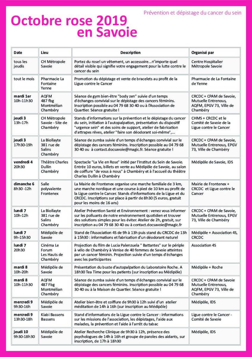Octobre rose en Savoie – programmation