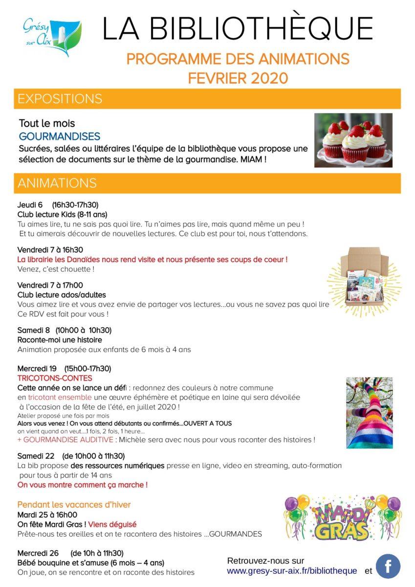 BIBLIOTHÈQUE : Programme du mois de février