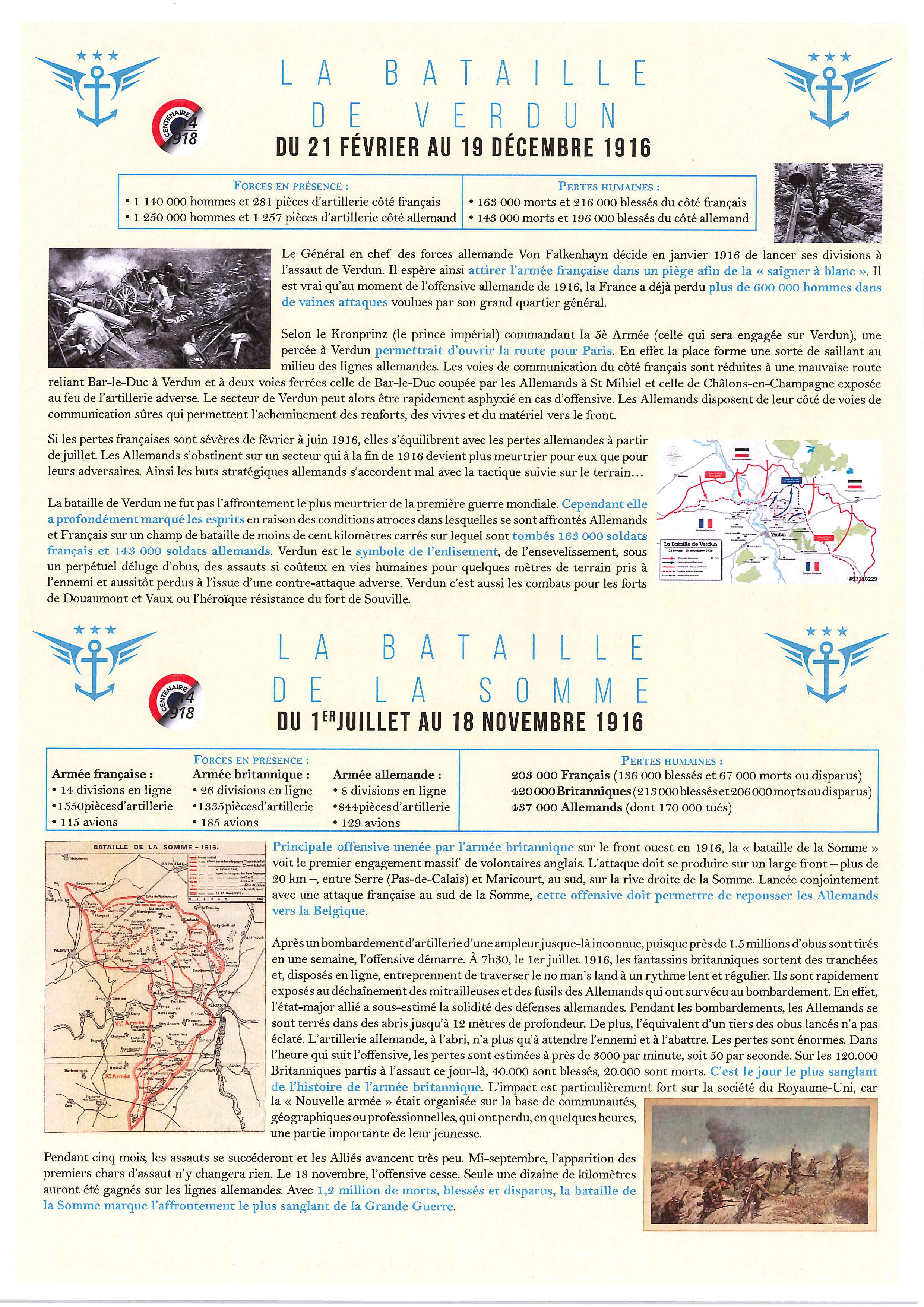 Les batailles de Verdun et de la Somme