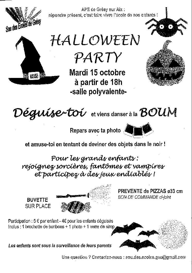 «Halloween party» le 15 octobre à 18h